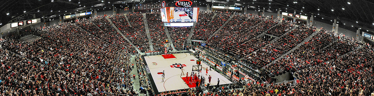 A basketball game in Viejas Arena
