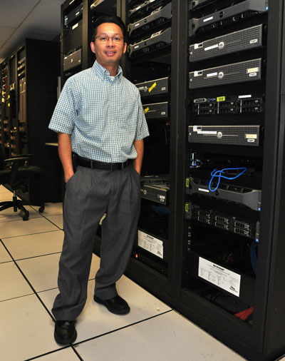 Jimmy Truong in a server room