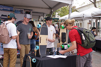 Attendees got a chance to inspect motorized skateboards during SDSU's Entrepreneur Day