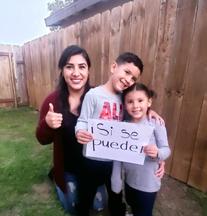 Jessica Moreno with her two children.