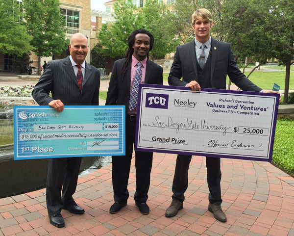 The team from SDSU at the business plan competition at Texas Christian University from left: Michael Sloan, Gemechu Abraham and Peter Morrill.