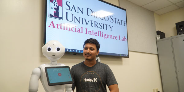 Student with AI robot