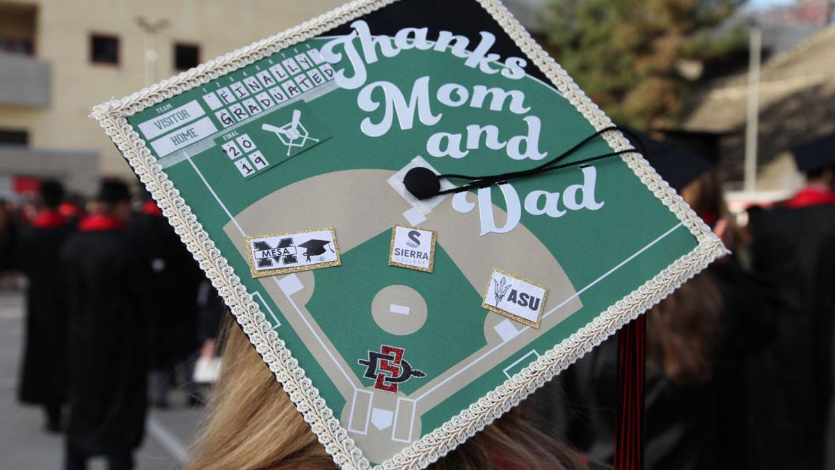 Graduation cap that says 'Thanks mom and dad'