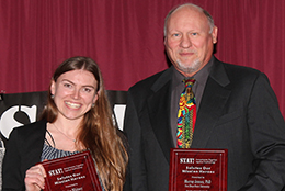 SDSU grad, Jessica Whitney and Dr. Murray Jennex display their STAT! Hero awards.